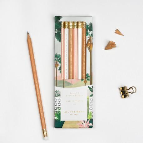 Boîte de 6 crayons de papier avec gomme - Palmspring