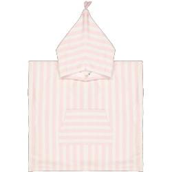 Poncho de bain rayé rose et blanc