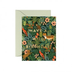 Carte double Wild birthday - animaux de la jungle