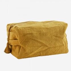 Grande trousse de toilette cube en coton - moutarde