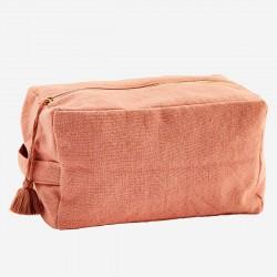 Grande trousse de toilette cube en coton - corail
