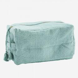 Grande trousse de toilette cube en coton - vert jade