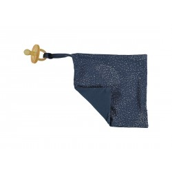 Doudou attache-tétine gold stars/night blue