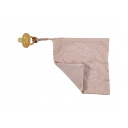 Doudou attache-tétine white bubble/misty pink