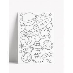 Carte postale à colorier - Espace