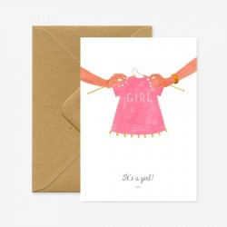 Carte It's a girl - pull rose
