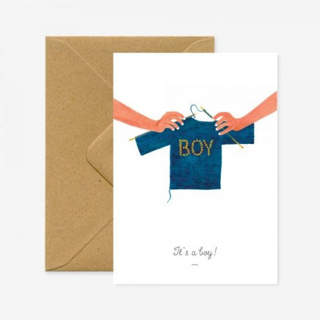 Carte It's a boy - pull bleu