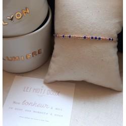 Bracelet au message codé Mon Bonheur à moi - cobalt