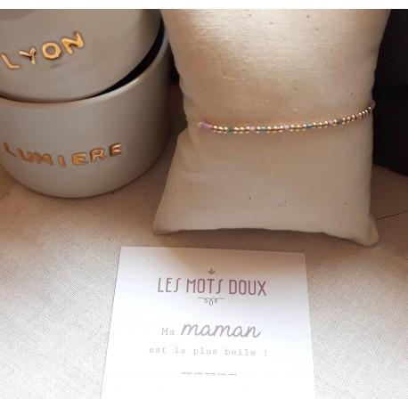 Bracelet au message codé Maman la plus belle - vert forêt