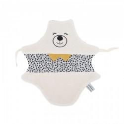 Doudou ours noir et blanc uni et imprimé et sa boîte cadeau