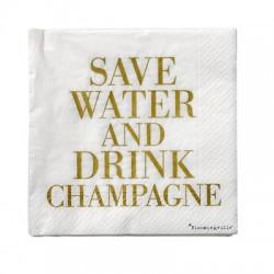 "Serviettes en papier ""Save water, drink Champagne"""
