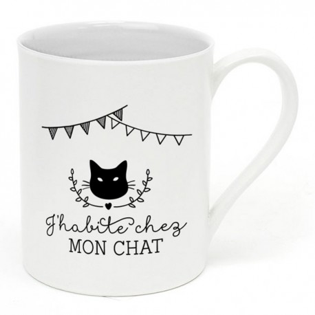 "Mug ""J'habite chez mon chat"""