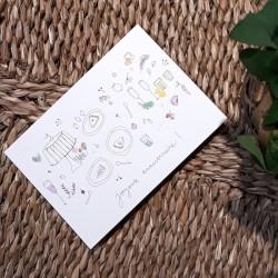Carte et enveloppe Goûter d'anniversaire