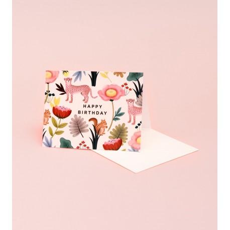 Carte Happy birthday - Animal crème