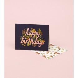 Carte Happy birthday - cursives fond noir
