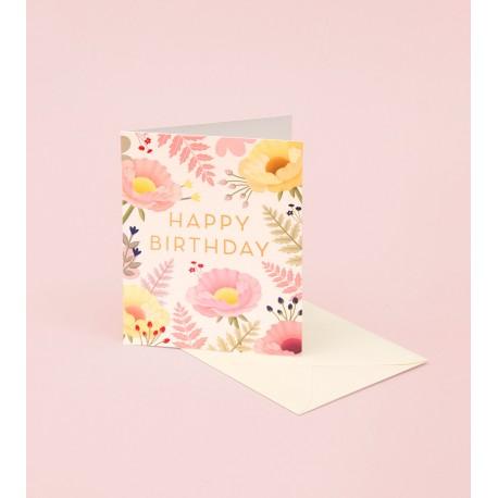 Carte Happy birthday - fond crème
