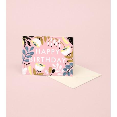 Carte Happy birthday - fond rose
