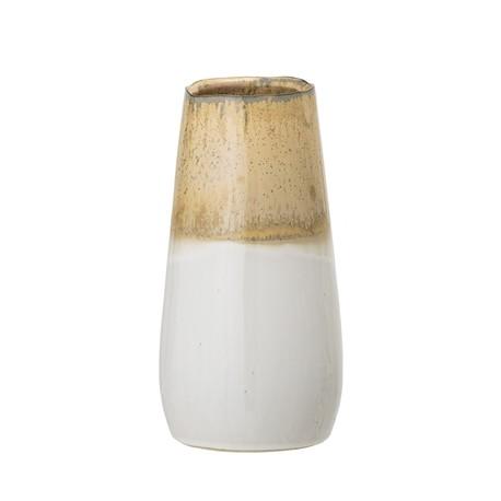 Vase en grès nature et blanc