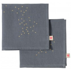 Lot de 2 serviettes de table Sésame pluie or