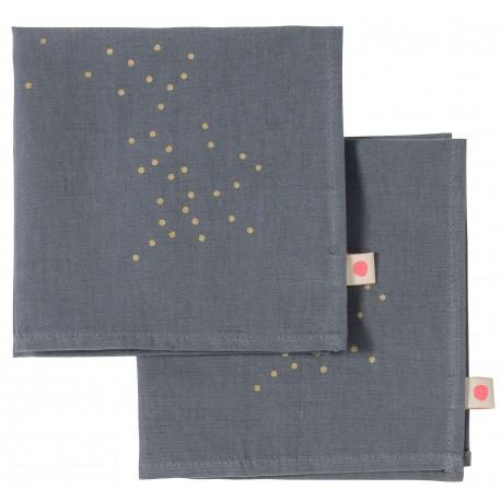 Lot de 2 serviettes de table Sésame pluie or