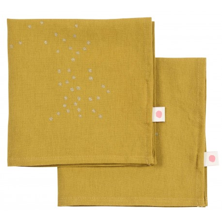 Lot de 2 serviettes de table Colombo pluie or
